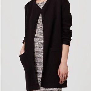 Loft Sweater Coat Black Sz Large